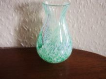 ELEGANT MARBLED SWIRL ART GLASS VASE CLEAR WHITE LIME HEAVY FOR SIZE